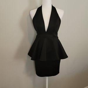 NWOT black peplum halter dress in black